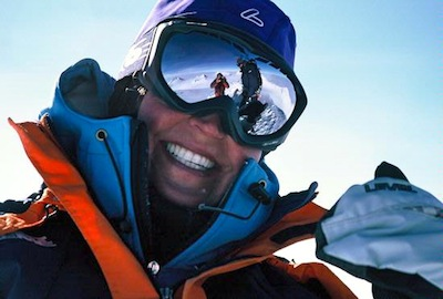 Antarctica reflected in a climber's goggles on Vinson.