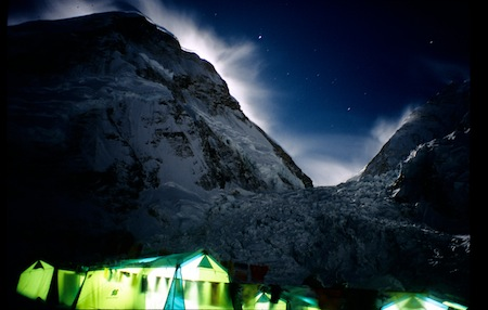 Everest camp at night