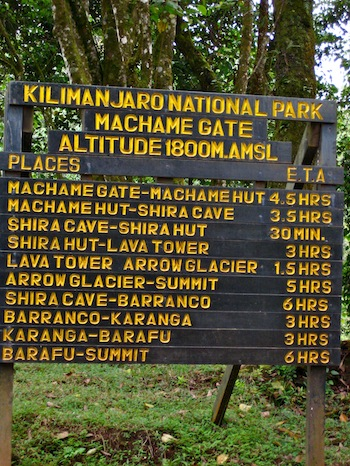 Machame Route Trailhead, Kilimanjaro National Park.