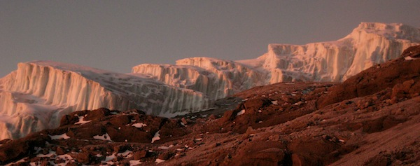 Alpenglow on Kilimanjaro's glacier.