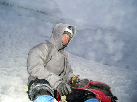 Resting below summit of Cotopaxi