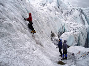Ice climbing skills training on Cayambe