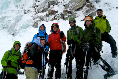 Outing Program Group Learns to Ice Climb