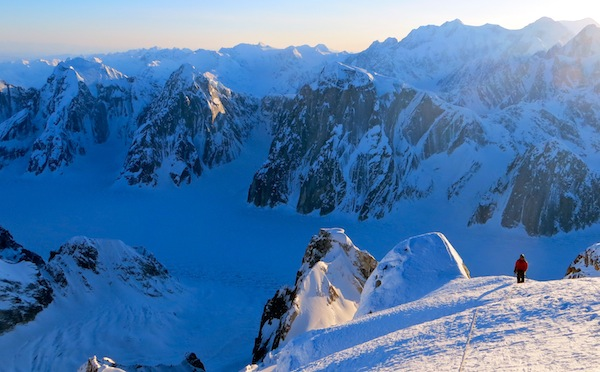 Gaining the ridge on the Mooses Tooth, Alaska Range.