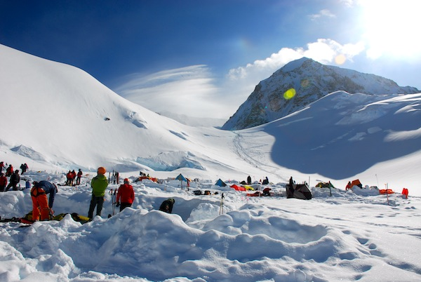 Camp 2 on Denali with views of the Direct West Buttress. Dylan Cembalski