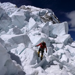Navigating the Khunbu Icefall.