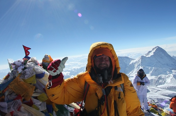 Dean Staples on the summit of Everest in 2013