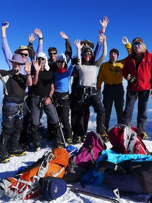 Team celebrates on the summit of Elbrus