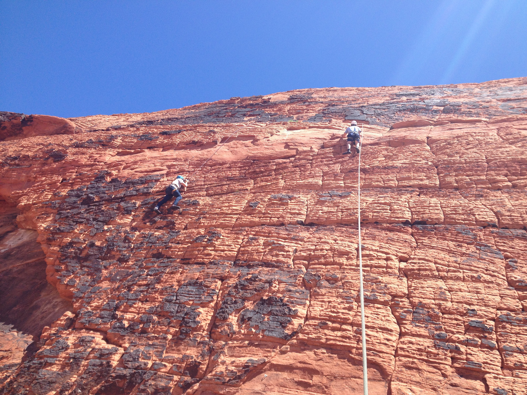 American Alpine Institute helps production company with mountain safety while filming in Red Rock, NV.