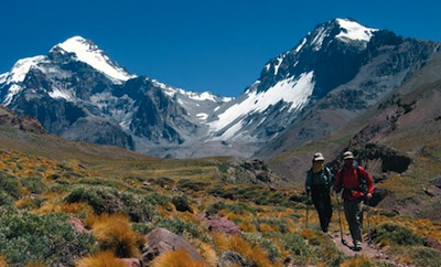 Climbers make their return trip after a successful summit bid on Aconcagua.