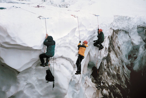 Prussik practice for crevasse self-rescue.