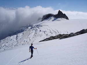 On a snowfield adjoining the Inspiration Glacier, Eldorado Peak, North Cascades