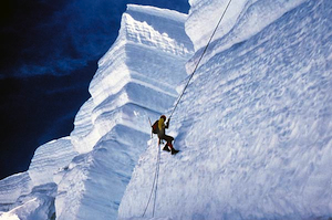 Rappelling down a serac in one of Mt Baker's massive icefalls. Keith Gunnar