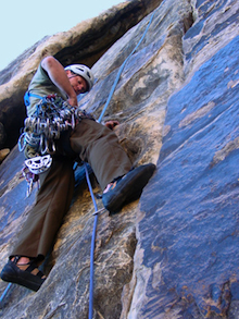 A climber starts up Tonto (5.5) in Red Rocks, NV