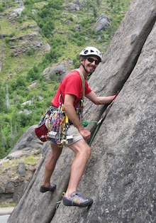 A climber enjoys the superb granite in Leavenworth.