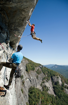 Lead climbing at the limit.