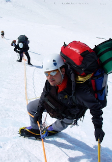 AAI Guide Matt Anderson leads a team on the fixed lines above 14 Camp on Denali.