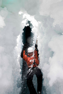 Practicing crevasse rescue on Mount Baker.