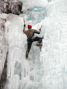 Ice is a constantly changing and always interesting medium. A climber negotiates a very featured section of climbing.