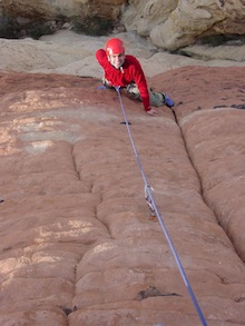 Man's Best Friend (I+, 5.8) is an excellent route for beginning-level leaders. Jason Martin