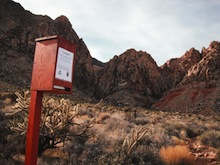 A WAG Bag Dispenser near the trailhead at Pine Creek Canyon. Scott Massey installed these in the winter of 2011-2012. Scott Massey