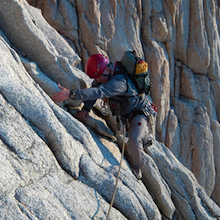 On the first pitch of the East Face route, Mount Whitney.