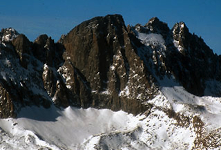 Beautiful Mount Sill. The Swiss Arete descends dramatically down and right from the summit.