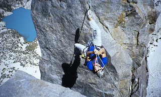 Tyrolean traverse on Temple Crag.