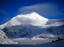 Mount Foraker from Denali Base Camp. The upper part of the Sultana Ridge forms the righthand skyline.