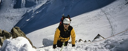 Heading up the Northwest Face of Mont Blanc du Tacul.