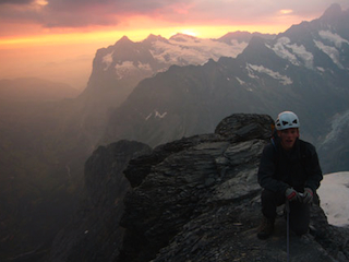 On route to the summit of the Eiger at dawn.