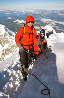 On route to the summit of Mont Blanc on a cold but clear day.