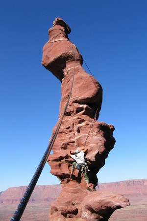 A climber on the iconic corkscrew climb, 'Ancient Art.'