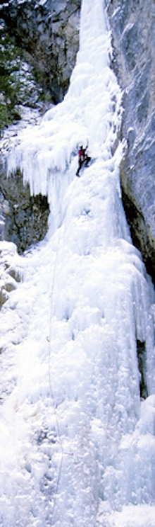 Ascending wild waterfall ice in the North Cascades.