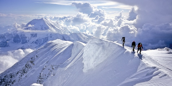 Climbers approaching the summit of Denali.