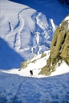 Climbing the entrance couloir to the West Rib.
