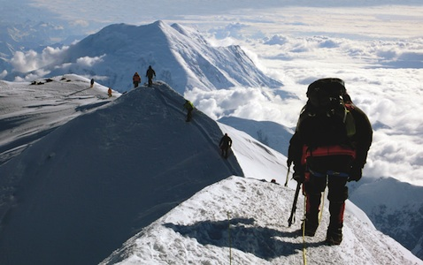 Climbers approaching the summit after a successful climb of the West Rib.