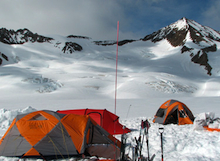 Basecamp showing the team's first route objective in the background.