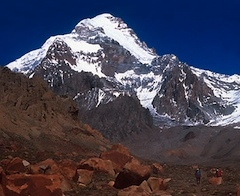 Aconcagua's Polish Glacier descends from the summit diagonally right.