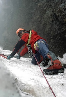 Climbing 60 degree ice on El Altar.
