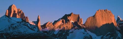 Sunset on the Fitzroy Group from the Patagonian Ice Cap