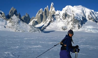 Trekking on the Icecap with a great view of Fitzroy (left) and Cerro Torre (center), with Torre Egger and Cerro Stanhardt (just left of Cerro Torre)