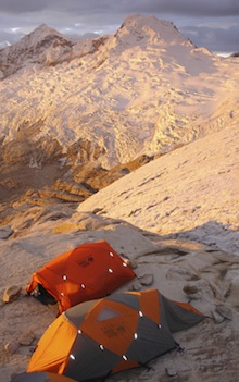 Peru, The alpenglow is spectacular at high camp on Toqllaraju.
