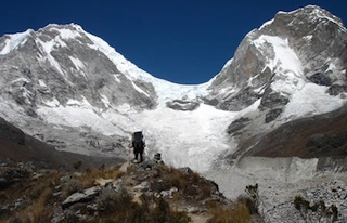 Nearing the Chopicalqui basecamp in Quebrada Angosh.