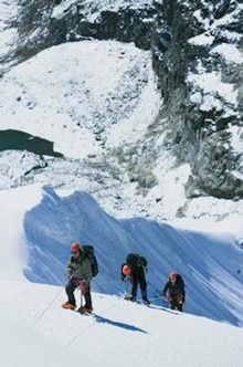 3 Peaks Nepal - After thorough acclimatization, climbers enjoy the steeper ground on Lobuche East.