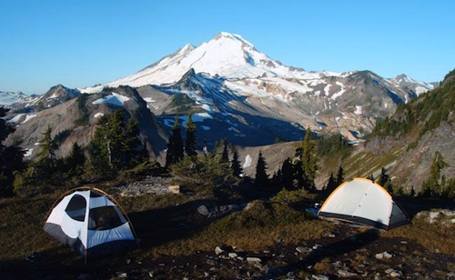 A spectacular campsite during another program in Washington's Mt. Baker Wilderness. Mt. Baker is in the distance.