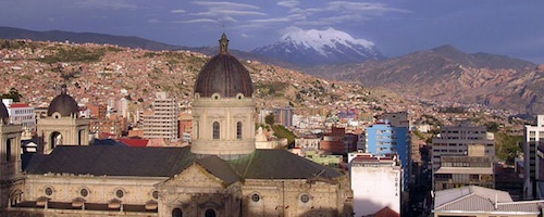 The city of La Paz, the highest capital city in the world at around 10,000'.