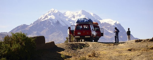 On our way into the Cordillera Real, we gain tremendous views of Illimani.