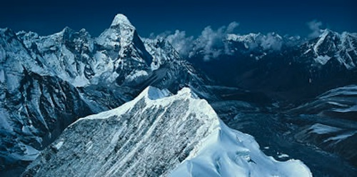 Nepal, Khumbu - South ridge of Island Peak, with the north ridge of Ama Dablam in the distance.