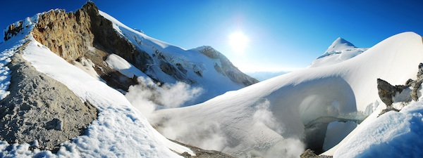 The incredible Sherman Crater of Mt. Baker. The final push to the summit follows 'Pumice Ridge' to the left.